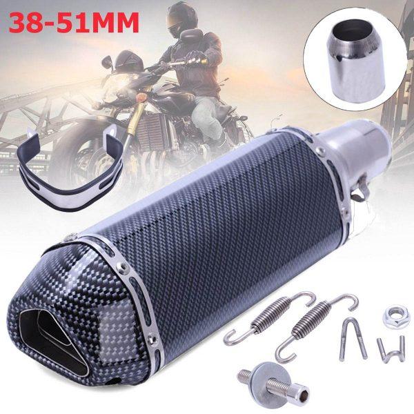 38-51mm Motorbike Motorcycle Exhaust Muffler Pipe Slip-On Scooter Carbon Fiber